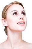 Het gezicht van de close-up van blonde schoonheid Stock Foto's