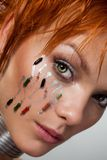 Het gezicht van de close-up van futuristische vrouw Stock Afbeeldingen