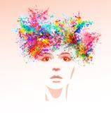 Het gezicht van de heldere kleurenvrouw royalty-vrije illustratie
