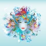 Het gezicht van de heldere kleurenvrouw vector illustratie