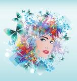 Het gezicht van de heldere kleurenvrouw Royalty-vrije Stock Foto's