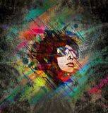 Het gezicht van de heldere kleurenvrouw Stock Afbeeldingen