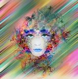 Het gezicht van de heldere kleurenvrouw Royalty-vrije Stock Afbeelding
