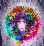 Het gezicht van de heldere kleurenvrouw stock illustratie
