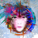 Het gezicht van de heldere kleurenvrouw Royalty-vrije Stock Fotografie