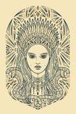 Het gezicht van de Jugendstilvrouw vector illustratie