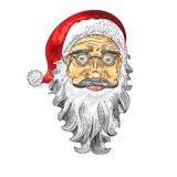 Het gezicht van de Kerstman Kleurenpictogram Stock Foto's