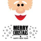 Het gezicht van de Kerstman met groeten van vrolijke Kerstmis & gelukkige nieuw Royalty-vrije Stock Fotografie