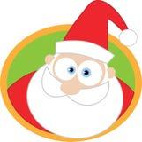 Het gezicht van de kerstman met ronde achtergrond Royalty-vrije Stock Afbeeldingen