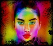 Het gezicht van de kleurrijke abstracte vrouw Stock Afbeelding