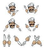 Het gezicht van de kok met mes en vork Stock Foto