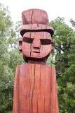 Het gezicht van de Mapucheantotem in Temuco. stock fotografie