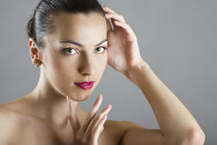 Het gezicht van de mooie vrouw Stock Foto
