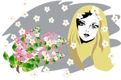 Het gezicht van de mooie vrouw met bloemen Stock Afbeelding