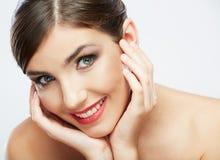 Het gezicht van de schoonheid van jonge vrouw Stock Foto's