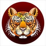 Het gezicht van de tijger met wervelingen Stock Foto