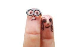 Het gezicht van de vinger Stock Foto's