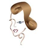 Het gezicht van de vrouw dat door linten wordt getrokken Stock Foto's