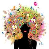 Het gezicht van de vrouw, feestelijk bloemenkapsel stock illustratie