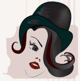 Het Gezicht van de vrouw met Cilinder Stock Fotografie