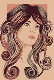 Het gezicht van de vrouw met gedetailleerd haar Royalty-vrije Stock Afbeeldingen