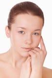 Het gezicht van de vrouw met gezonde huid Stock Foto's