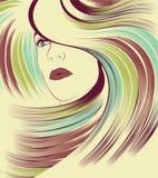 Het gezicht van de vrouw met lang kleurrijk haar Royalty-vrije Stock Foto's