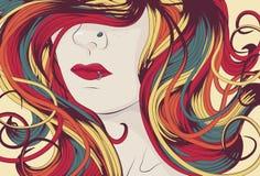 Het gezicht van de vrouw met lang kleurrijk krullend haar stock illustratie