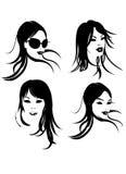 Het Gezicht van de vrouw in Zwart & Wit Stock Afbeelding