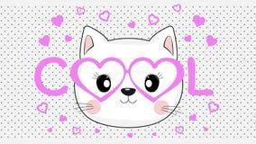 Het gezicht van een koele kat in roze glazen van hartenstijl royalty-vrije illustratie