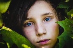 het gezicht van een mooi tienermeisje onder esdoornbladeren, close-up stock fotografie