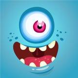 Het Gezicht van het beeldverhaalmonster Het vector blauwe monster van Halloween met één oog stock foto's