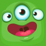 Het Gezicht van het beeldverhaalmonster Vector groene het monsteravatar van Halloween met drie ogenglimlach Stock Fotografie