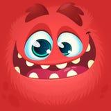 Het Gezicht van het beeldverhaalmonster Vector rode het monsteravatar van Halloween met brede glimlach stock foto's