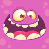 Het Gezicht van het beeldverhaalmonster Vector roze het monsteravatar van Halloween met brede glimlach royalty-vrije stock foto's