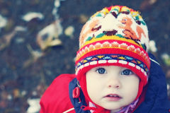 Het gezicht van het kind in een GLB Stock Foto