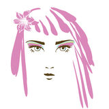 Het gezicht van het meisje in de lente Stock Afbeeldingen