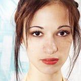 Het gezicht van het meisje met sproeten stock foto's