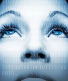 Het gezicht van het meisje van Cyber royalty-vrije stock fotografie