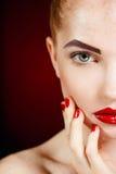 Het Gezicht van het mooie Maniermeisje. Make-up. Samenstelling en Manicure. Nagellak. Schoonheidshuid en Spijkers. Schoonheidssalo stock fotografie