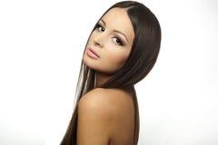Het Gezicht van het mooie Meisje. op witte brunette Royalty-vrije Stock Foto's