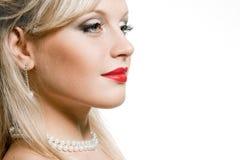Het gezicht van het sexy meisje met heldere samenstelling en rode lippen Stock Fotografie
