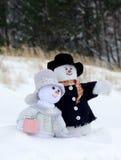 Het gezicht van het sneeuwmanpaar het zien Stock Foto