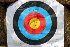 Het gezicht van het praktijkdoel met partij van schoten Gebruikt boogschietendoel op positie bij de zomer van de boogschietenwaai stock afbeelding