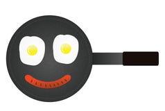 Het gezicht van Smily van gebraden eieren en worst in pan Royalty-vrije Stock Fotografie