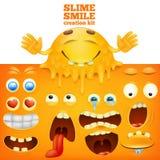 Het gezichts creatieve reeks van slijm gele smiley stock illustratie