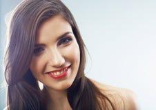 Het gezichts dichte omhooggaand van het meisje Schoonheids jong vrouw geïsoleerd portret Royalty-vrije Stock Foto's