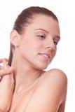 Het gezichts jonge vrouw van de close-up met schone huid stock foto's