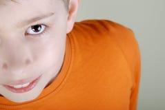 Het gezichtsclose-up van de jongen stock afbeeldingen