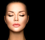 Het gezichtsclose-up van de schoonheidsvrouw Stock Foto